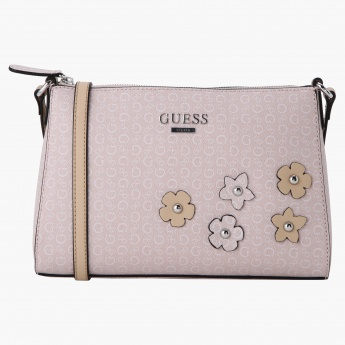 Guess Satchel Crossbody Bag with Flower Appliques  0d016b696cf33